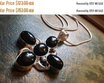 Holiday SALE 85 % OFF Black Onyx Pendant   Necklace Chain .925 Sterling  Silver