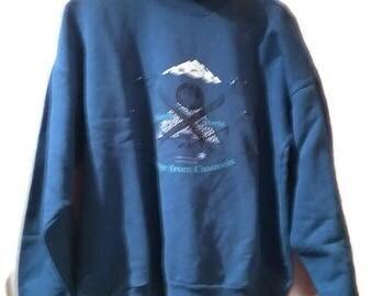 Vintage 80s Sweatshirt Blue Winter Sports Loosefit Sweatshirt Hipster Sweatshirt Printed Pullover Poloneck Touche Size M