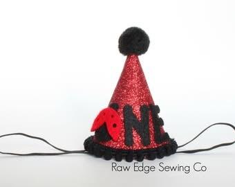 Ladybug Birthday Party Hat Red Black Cake Smash Headband Glitter Mini Custom First One Lady Bug