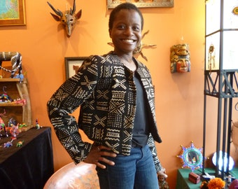 Bolero jacket made of authentic African Mud Clothe