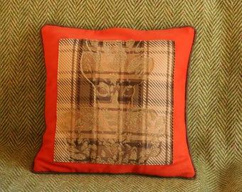 cushion - fabric - wool - orange - deer-