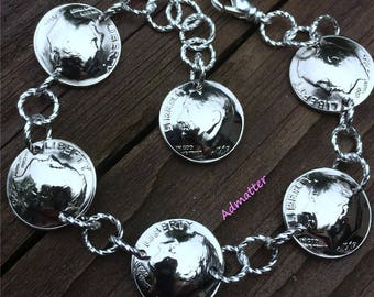 50th Birthday 1967 Dime Bracelet 50th Anniversary Birthday Gift For Women 1968 49th Coin Jewelry Silver Charm Dangle Bracelet Mom Wife Gift