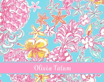 Lilly Pulitzer personalized folded note cards, Lilly Pulitzer stationery, Lilly Thank You Notes, floral, flowers