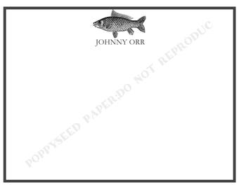 Fish note card, personalized flat note cards, Masculine stationery, masculine thank you note, Fish stationary, Fishing stationary