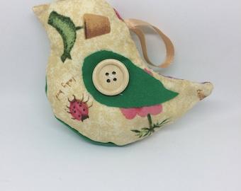 Textile bird bauble (garden print)