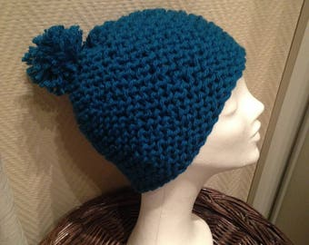 Blue wool hat with Pompom one size