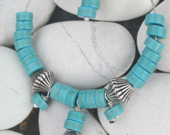 MOANA NUI hoops in turquoise and silver metal