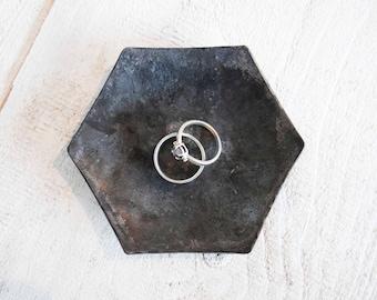Steel anniversary gift - hexagon small ring dish - steel candle holder - 11th anniversary gift for her - personalized 11th wedding gift him