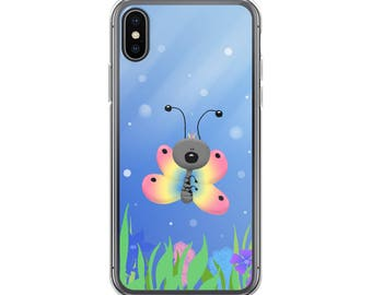 Illustrated Rainbow Butterfly iPhone Case - iPhone 8 / 8 Plus Case - iPhone 7 Case - iPhone X Case - iPhone 6 Case  - Cell Phone Case - Cute