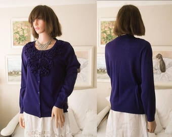 Unworn indigo ruffle cardigan Fine knit cardigan Deep blue cardigan Fine knit sweater Indigo sweater Ruffle sweater UK size 12-14