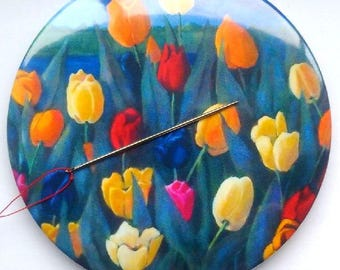 Needle Minder,  Tulips, Painting of Colorful Tulips, Flowers, Needle Holder, Sewist or Seamstress Gift, Three Inch Magnetic Needle Nanny