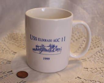 """Vintage """"USS Eldorado AGC 11"""" Mug 1999 Navy Mug, Decommissioned 1972"""