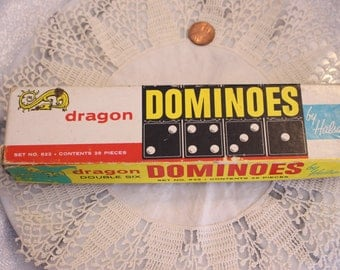 Vintage Black Dragon Double Six Dominoes by Halsam (Qty 25)