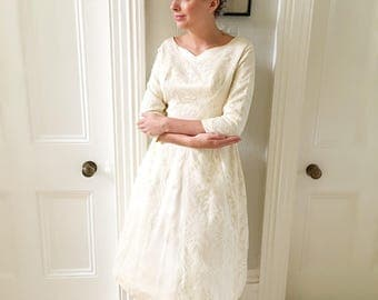 Vintage Lace Wedding Dress. Cute Satin and Lace Bridal Gown. Tea Length 1960s Wedding Dress. Bow Back and Pleats.