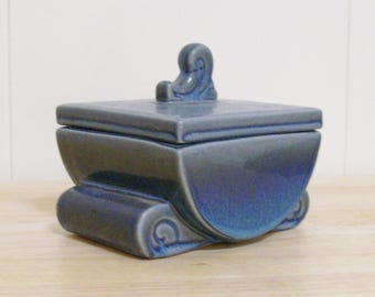 Vintage Handmade Ceramic Glazed Trinket Box in Muted Shades of Blue