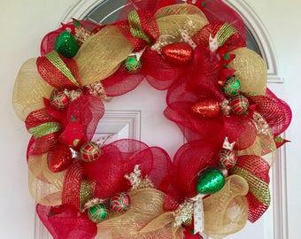Christmas Wreath, Holiday Wreath, christmas decor, Red and Green Wreath
