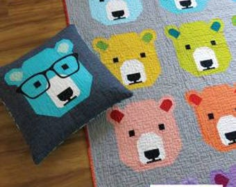 Bjorn Bear Quilt Pattern - Quilt Pattern from Elizabeth Hartman - Bear Quilt Pattern - Baby Quilt Pattern - Lap Quilt Pattern - Pillow Cover