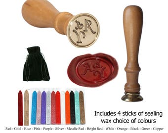 Personalised Wax Seal Stamp. Your Initials custom engraved sealing stamp for wedding Invitations Includes 4 wax sticks