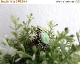 Adjustable Mint Ring Mori Girl Style Pastel Ring Mint Green Ring Flower Bronze Ring Mori Kei Green Flower Ring Girls Rings Mint Flower Ring