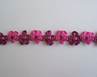 Ribbon rococo flowers fuchsia and dark pink