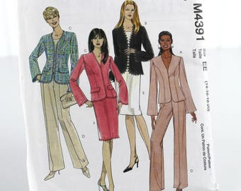 Lined Jacket, Pants and Skirt, Suit Pattern, Uncut Sewing Pattern, McCalls 4391, Size 14-20