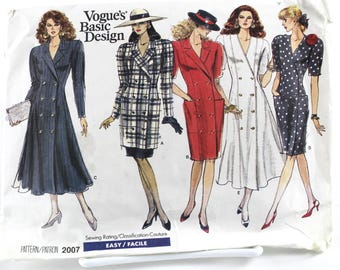 Large Vintage Vogue Double Breasted Dress  and Jacket Pattern, Uncut Sewing Pattern, Vogue 2007, Size 20-24