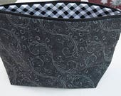 Gray black and white project bag