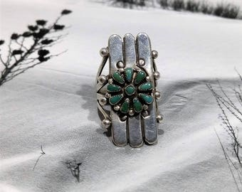 Zuni green turquoise cluster ring, Green ring gift, Her raw stone ring, Wife silver ring, Native American jewelry, Zuni jewelry, Aunt Bettys