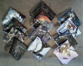 Camo fabric Pocket squares. 22 camo colors to choose from boys & Men