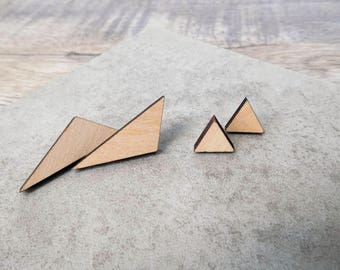 Triangular Basswood Laser Cut Earrings- small or large
