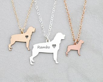 Rottweiler Necklace • Silver Dog • Rose Gold Pet Charm • Pet Jewelry • Personalized Puppy • Gift Family Dog Pet Family Dog Rescue