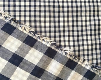 Double blue fabric, woven checkered face, plaid on the other