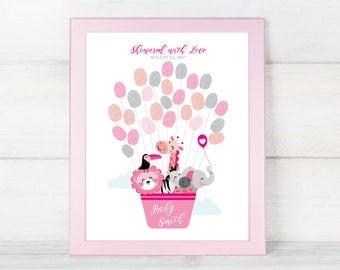 THUMBPRINT GUESTBOOK Printable Sign, Pink Animals Hot Air Balloon Baby Shower, Fingerprint Sign In, Thumbprint Welcome Sign, Baby Keepsake