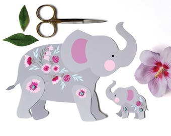 Articulated Elephant,  Instant Digital Download - DIY Paper Elephant, Elephant Baby Shower