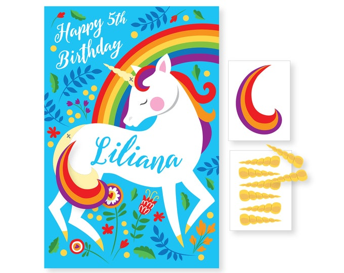 Pin the Tail on the Unicorn /Unicorn - party game - DIY party game - party game for girls - Unicorn Rainbow Game - Pin the Horn Game