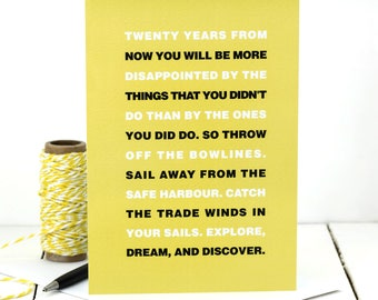 Mark Twain Quote Card; Explore, Dream, And Discover Quote; Bon Voyage Card; Good Luck Card; GC466