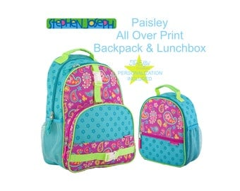 Stephen Joseph All Over Print Paisley Backpack and Lunch Box, Personalized Kids Backpack Lunch Box, Paisley.