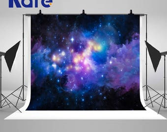 Galaxy Stars Night Blue Sky Purple Cloud Ceiling Photography Backdrops No Wrinkles Photo Backgrounds for Children Studio Props
