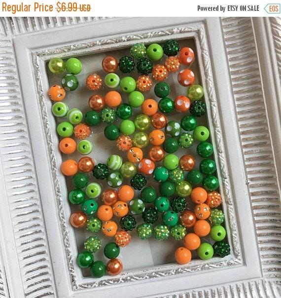 "SALE 12mm  ""Green & Orange ""  {100 count}  Chunky Bubble Gum Bead Wholesale Bulk Bead Lot for Necklaces or Bracelets"