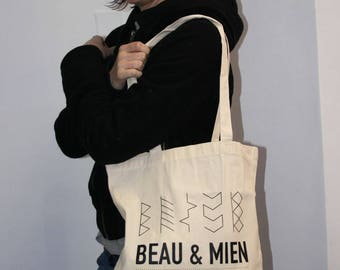 Beautiful ToteBag & mine print beige black
