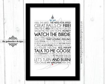 Top Gun - Movie - Quotes & lyrics Typography - PRINT