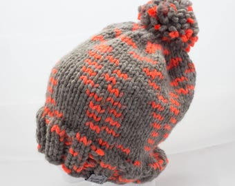 Slouchy Orange & Grey warm winter hat, pom pom hat, beanie, thick, hand knit, knitwear, unisex winter hat