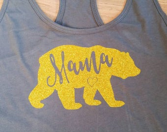 Gold sparkle mama bear tank. Grey women's tank top. Made to order. Other colours available.