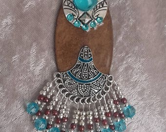 ethnic Brown turquoise silver pendant hand-made jewelry