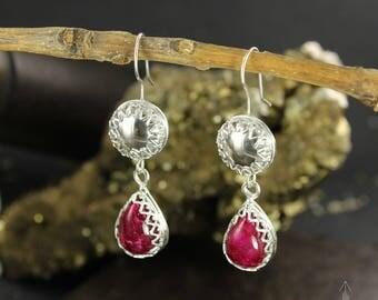 Ruby earrings - Sterling silver earrings - July Birthstone earrings - Romantic earrings - Handmade