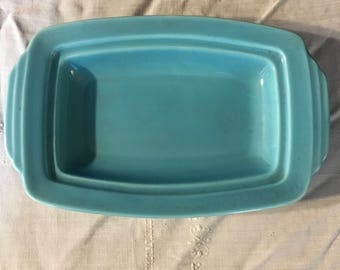 Turquoise blue Homer Laughlin her look when butter dish base HLC solid color dinnerware