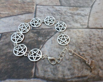 pentacle bracelet with besoom pentacle wiccan pagan witch witch broom bracelets