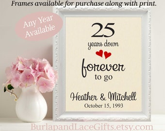 25th Anniversary, 25 Years Down - Forever to Go, 25th Wedding Anniversary, Gift to Wife,  Burlap, Gift for Wife, Gift for Husband (208)