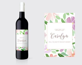Be My Maid of Honor Wine Label. Will You Be My Maid of Honor Wine Label. Bridesmaid Ask Wine Label. Maid of Honor Ask Wine Label. BM15
