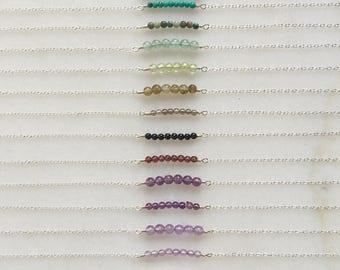 Smooth pebble bracelet | Natural gemstones | 14k gold filled & sterling silver